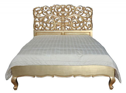 Louis Ornately Carved Gold Rococo Bed